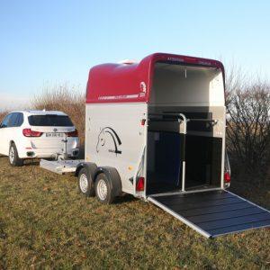 Porte-calèche Cheval Liberté hippomobile aluminium roue vue arrière d'ensmble