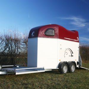 Porte-calèche Cheval Liberté hippomobile aluminium rouge vue côté gauche